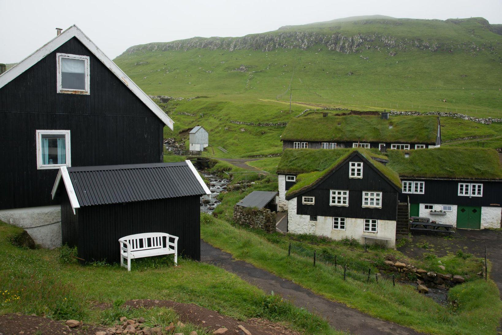 Typická faerská architektura s travnatými střechami