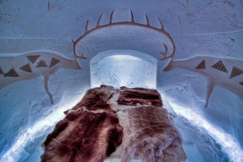 Dvoulůžkový pokoj v ledovém hotelu