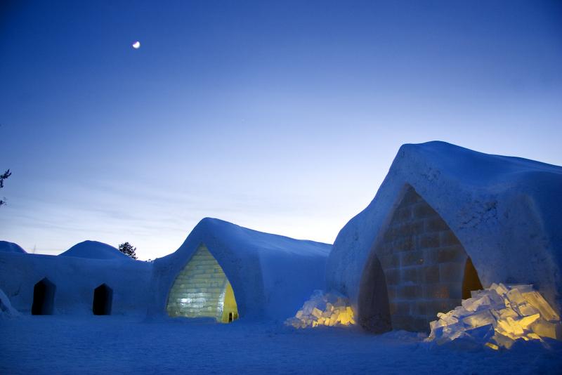 Ledový hotel nedaleko Rovaniemi