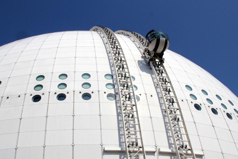 Stockholm, lanovka Sky View na hale Globen