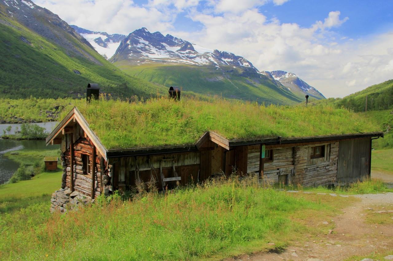 Typický domek se zelenou střechou