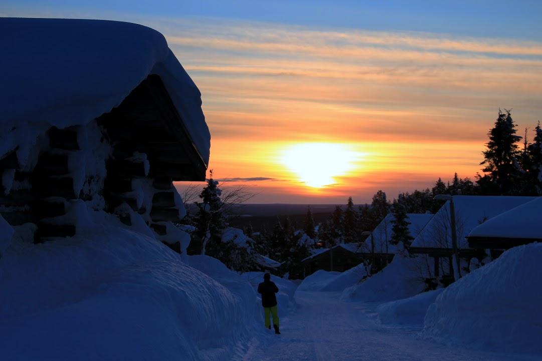Západ slunce v Iso-Syöte