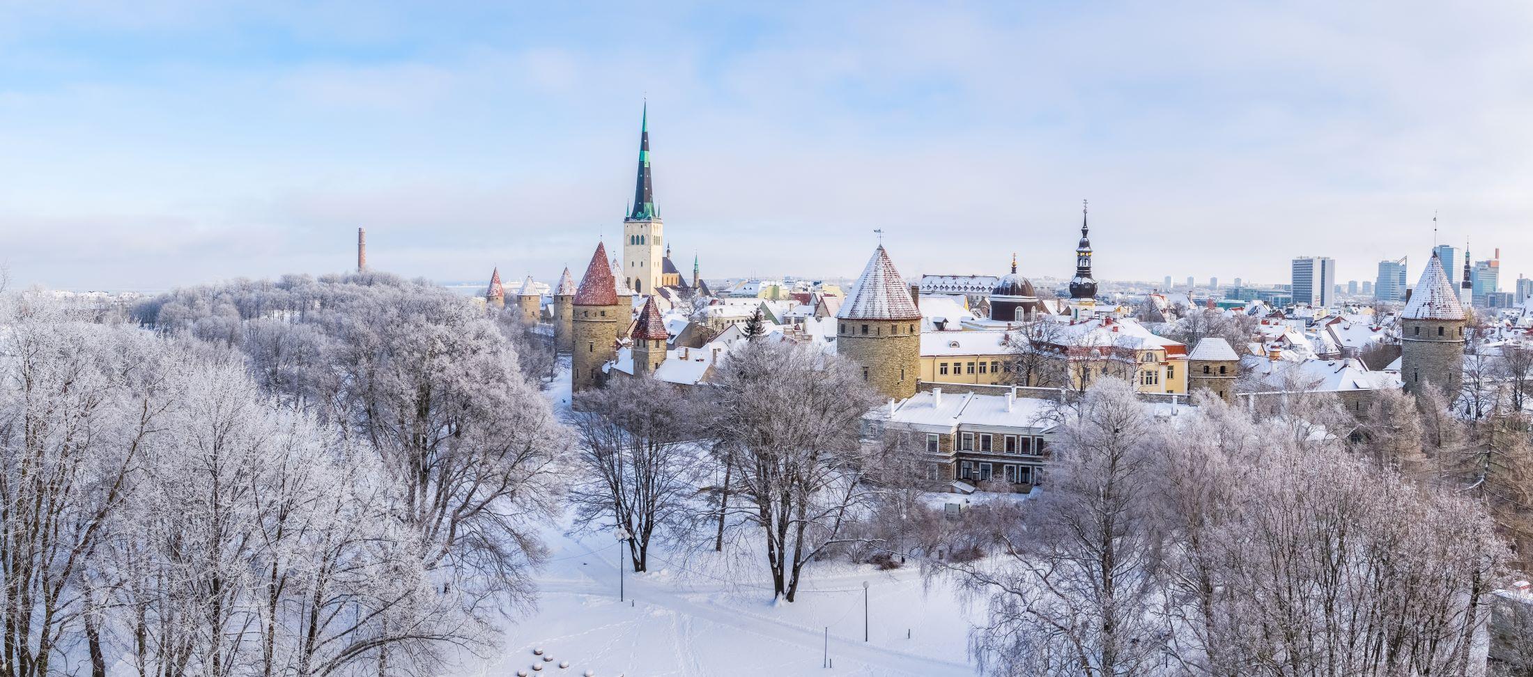 Zimní Tallinn panorama