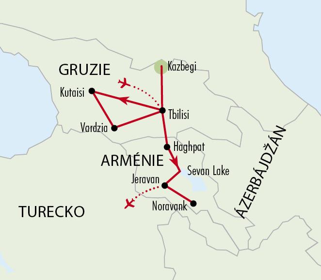 Mapy zájezdů / 26SV15 -Gruzie aArménie
