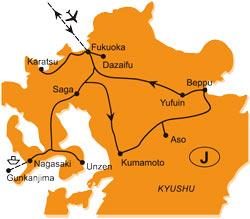 Mapy zájezdů / 45SV16 Japonsko, ostrov Kjúšú