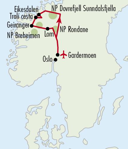 Mapy zájezdů / 54NO16 - Národní parky Norska