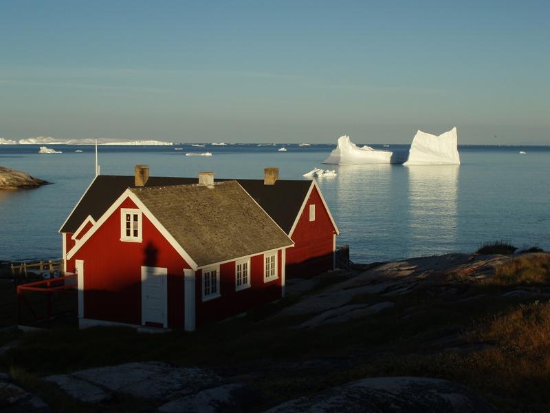 Barevný domek a kra- symbol Grónska