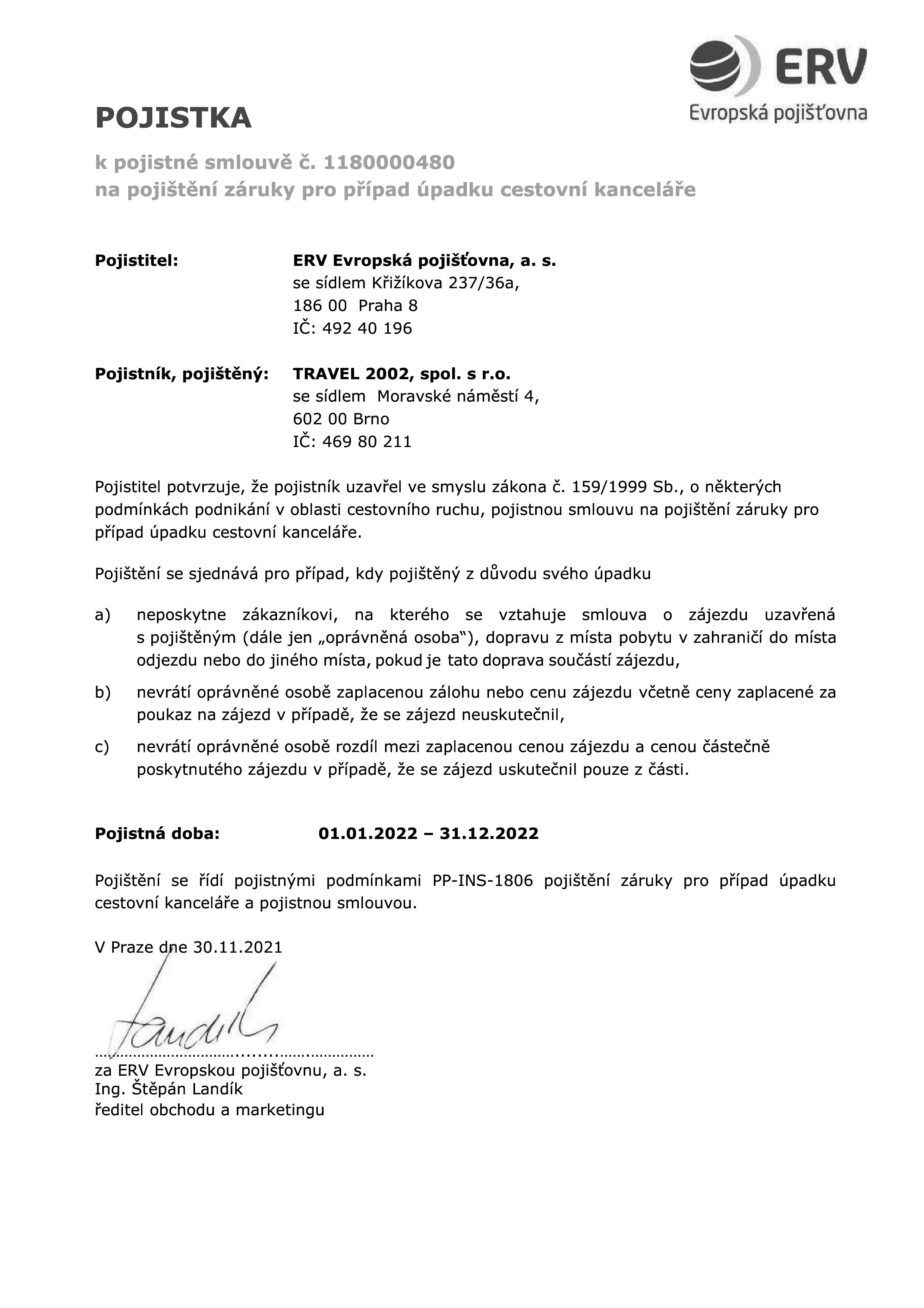 Travel2002 / Certifikát pojištění proti úpadku Travel 2002