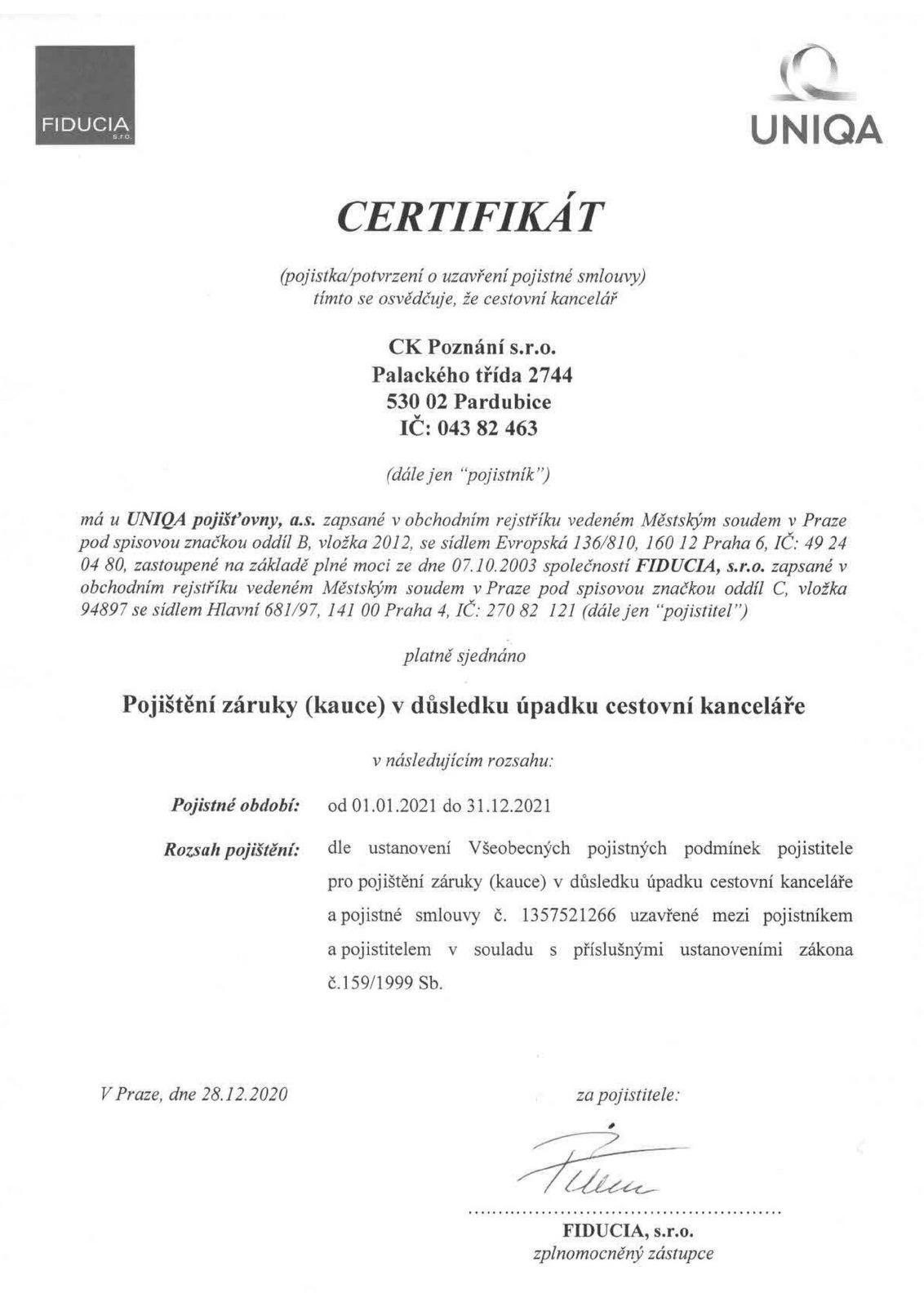 Poznání / Certifikát Poznání