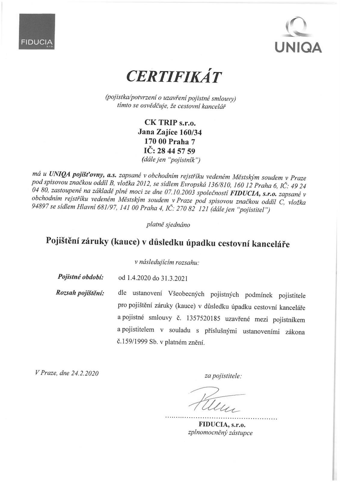 CK TRIP / Certifikat-upadek