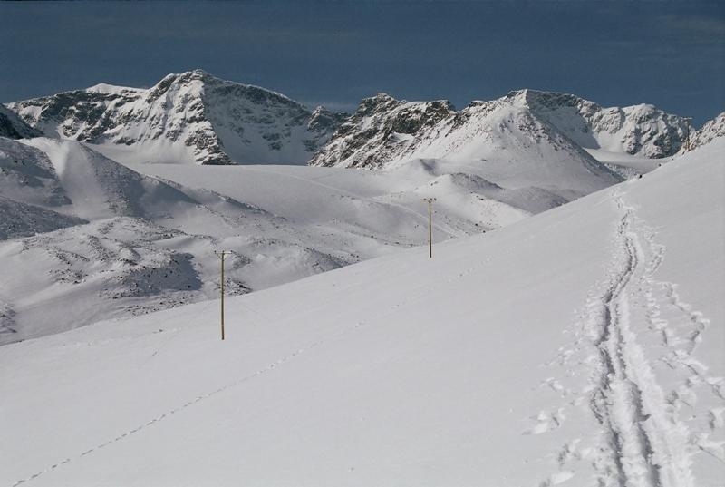 Kebnekeise vlevo - nejvyšší hora Švédska
