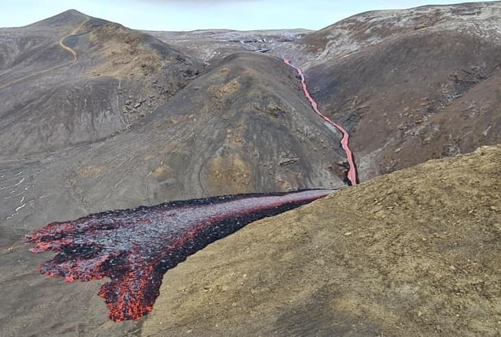 Nová láva na Islandu z jara 2021