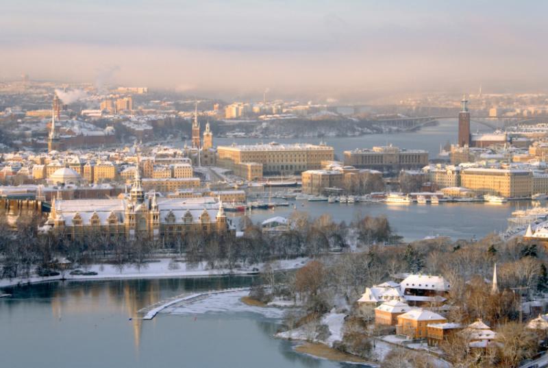 Pohled na zimní Stockholm