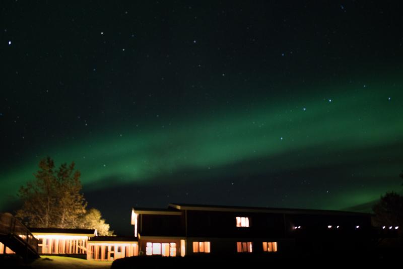 Polární záře nad hotelem Hekla, Island