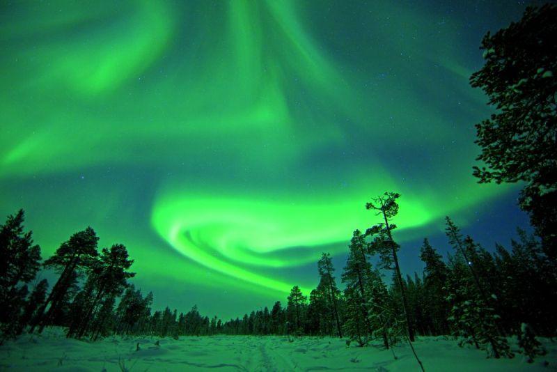 zima FINSKO / Polární záře ve Finsku