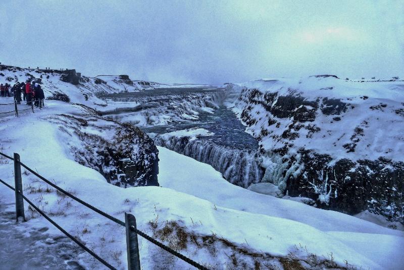 zamrzlé říční údolí Gullfoss
